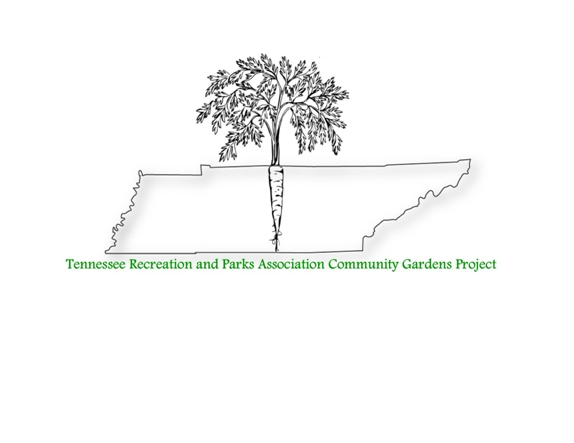 Picture of TRPA Community Garden logo.  State of TN with a carrot.
